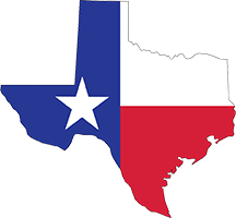 Shape of Texas with flag inside